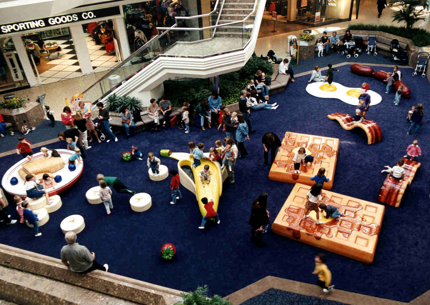 aerial view of kids playing at cherry creek mall breakfast theme PLAYTIME play area