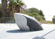 close up of whale play structure by playtime at outdoor play area in San Pedro
