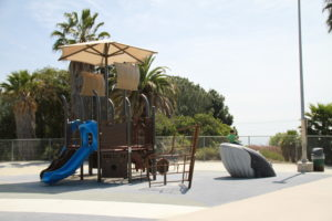 whale play structure and climbing area by playtime at outdoor play area in San Pedro