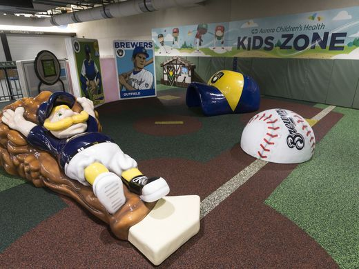 Brewers playing area with mascot at home plate at Brewers play area PLAYTIME