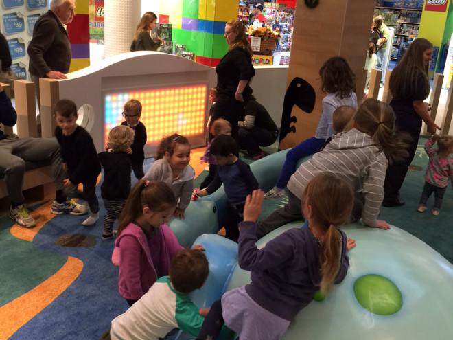 Kids playing in custom play area