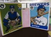 oversized baseball cards for photo opp near playtime play area at milwaukee brewers miller park