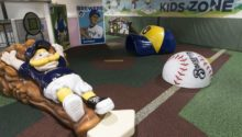 playtime play area with player sliding into home plate at milwaukee brewers park