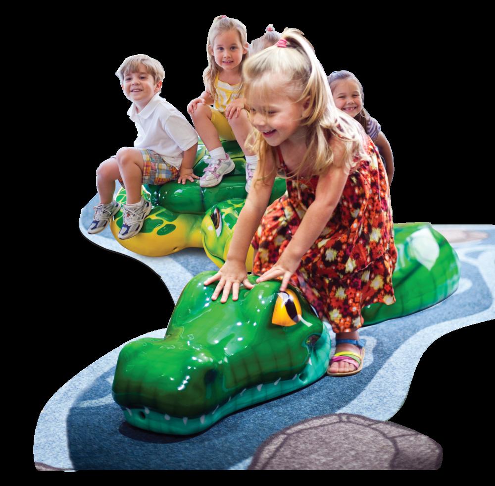Kids playing on custom snake element