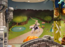 mural on wall of playtime play area at lakeside shopping center