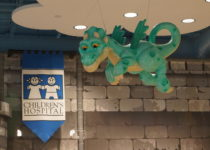 dragon suspended from the ceiling at playtime play area at lakeside shopping center