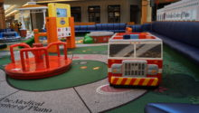 PLAYTIME large play area at Shops at Willow Bend fire truck view