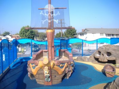 Friendship Square play area featuring pirate boat created by PLAYTIME