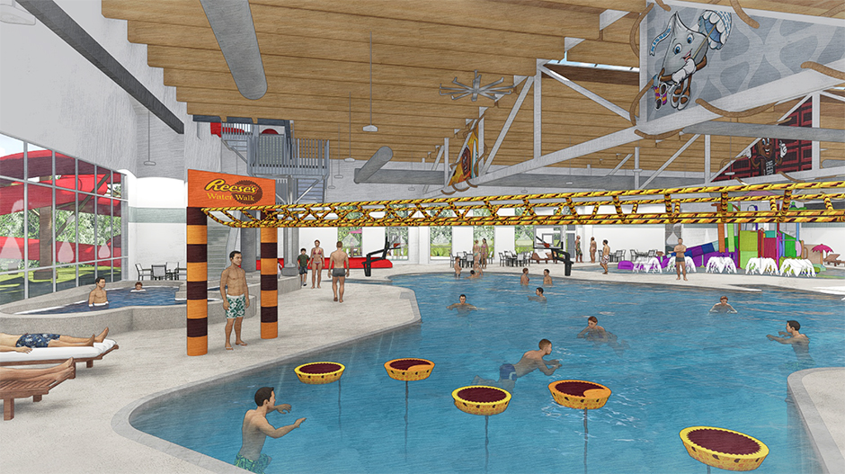 3D drawing of floating elements in pool Hershey Water Works- Water Theme Environment Created by Playtime