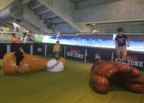 Kids playing on baseball themed structure at miami marlins park