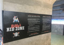 Billys Kid Zone signage next to playtime area at miami marlins stadium