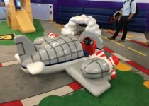 close up of airplane structure by playtime at el paso airport
