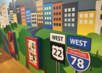 Custom city landscape wallpaper around play area