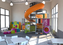 mcdonalds playplace area with music elements and slide created by playtime