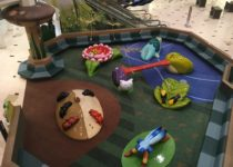 aerial view of playtime climbing structures and seating area at twelve oaks mall