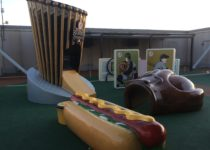 Playtime outdoor play area with baseball themed play elements