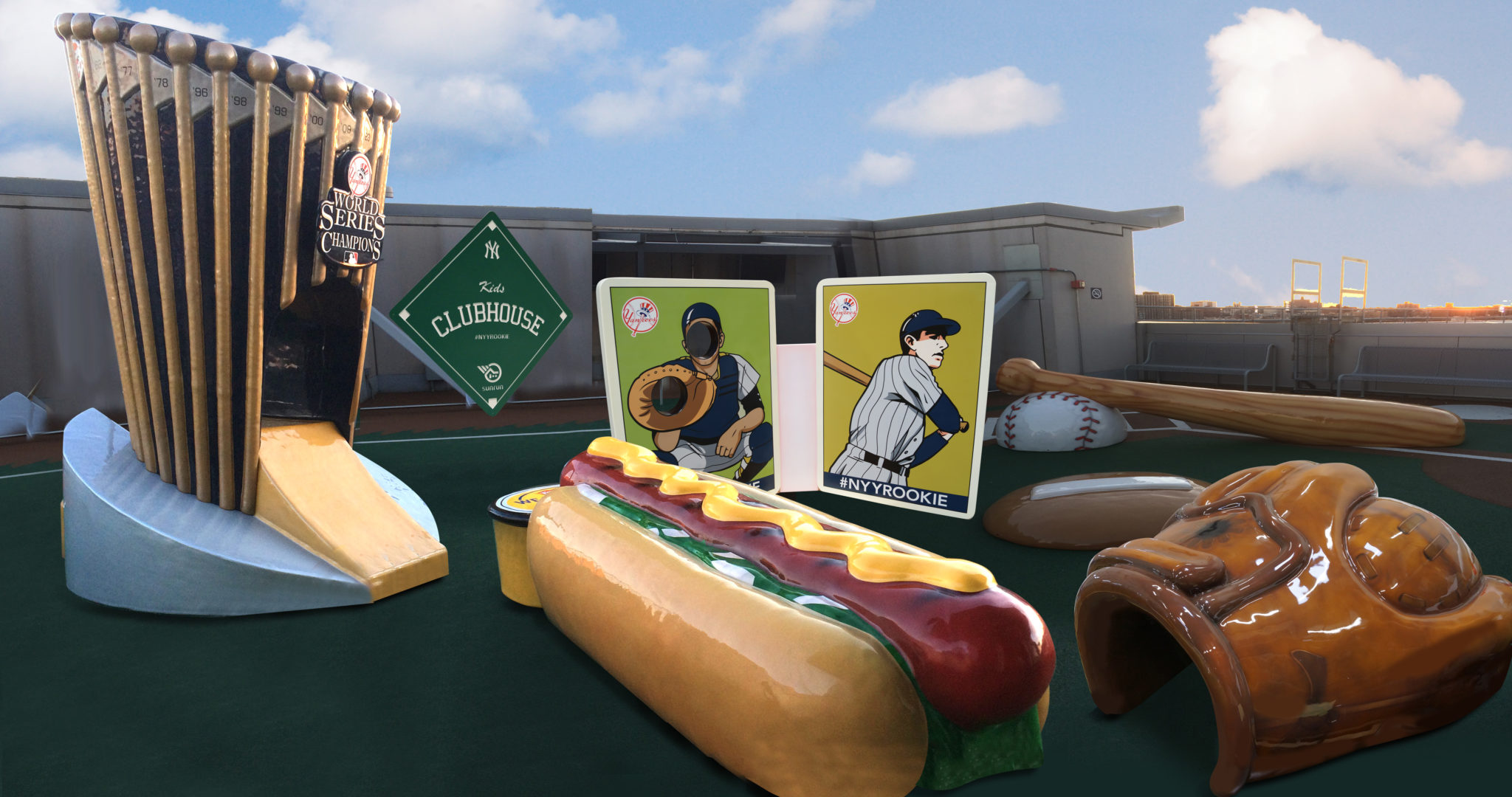 full view of outdoor play area with mitt, hotdog, and baseball cards at play area PLAYTIME