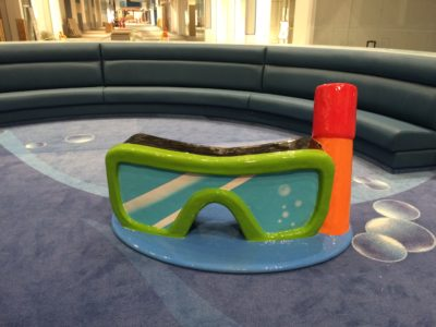 PLAYTIME Tsawwassen Mills play area with underwater theme showing large mask and snorkel