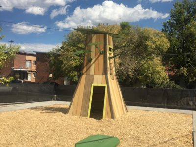 Outdoor Playtime school play area play tower and picnic table