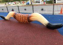 Bull Horn sculpture in play area