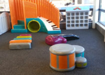 PLAYTIME music play area with shoe cubbies