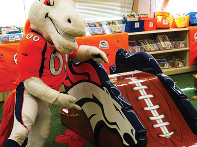 PLAYTIME Denver Broncos Play area with slide and Miles the Mascot