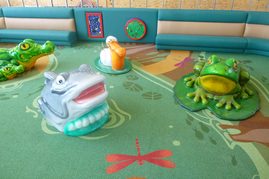 Custom play area with frog and shark