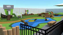 3D drawing of custom outdoor play area