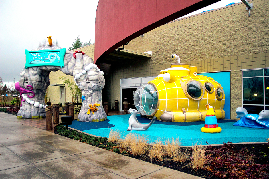 Outdoor play area underwater theme