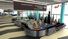 3D drawing of custom play area in an airport