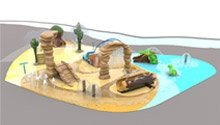 3D drawing of custom water park play area